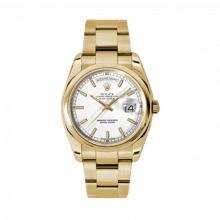 New Rolex Men's New Style Day-Date Watch - Yellow Gold President White Index Dial  - Domed/ Smooth Bezel-  Oyster Bracelet 36 MM 118208