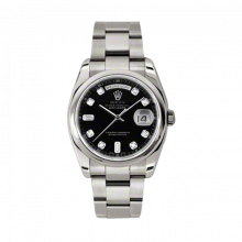 New Rolex Men's New Style Day-Date Watch - White Gold President Black Diamond Dial - Domed/ Smooth Bezel -  Oyster Bracelet 36 MM 118209