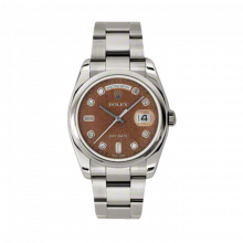 New Rolex Men's New Style Day-Date Watch - White Gold President Havanna Brown Jubilee Diamond Dial - Domed/ Smooth Bezel -  Oyster Bracelet 36 MM 118209