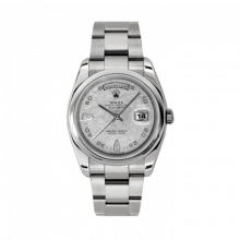 New Rolex Men's New Style Day-Date Watch - White Gold President Meteorite Arabic Diamond Dial - Domed/ Smooth Bezel -  Oyster Bracelet 36 MM 118209
