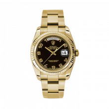 Rolex Day Date President 118238 Black Arabic Dial 18K Yellow Gold - Fluted Bezel On A New Style Oyster Band - Unused