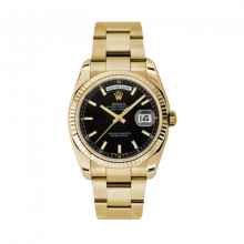 Rolex Day Date President 118238 Black Index Dial 18K Yellow Gold - Fluted Bezel On A New Oyster Band - Unused