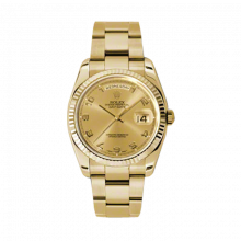 Rolex Day Date President 118238 Champagne Arabic Dial 18K Yellow Gold - Fluted Bezel On A New Style Oyster Band - Unused
