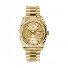 Rolex Day Date President 118238 Champagne Diamond Dial 18K Yellow Gold - Fluted Bezel On A New Style President Bracelet - Unused