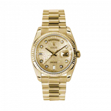 Rolex Day Date President 118238 Champagne Jubilee Diamond Dial 18K Yellow Gold - Fluted Bezel On A New Style President Bracelet - Unused