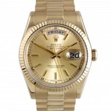 Rolex Day Date President 118238 Champagne Stick Dial 18K Yellow Gold - Fluted Bezel On A New Style President Bracelet - Pre-Owned
