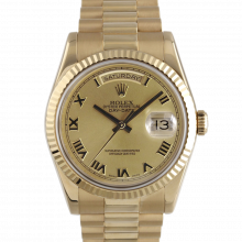 Rolex Day Date President 118238 Champagne Roman Dial 18K Yellow Gold - Fluted Bezel On A New Style President Bracelet - Pre-Owned