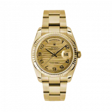 Rolex Day Date President 118238 Champagne Wave Arabic Dial 18K Yellow Gold - Fluted Bezel On A New Oyster Band - Unused