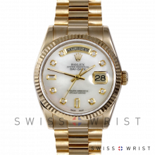 Rolex Day Date President 118238 Custom Mother Of Pearl Diamond Dial 18K Yellow Gold - Fluted Bezel On A New Style President Bracelet - Pre-Owned
