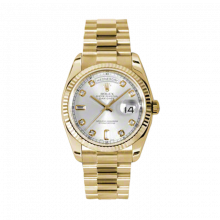 Rolex Day Date President 118238 Silver Diamond Dial 18K Yellow Gold - Fluted Bezel On A New Style President Bracelet - Unused