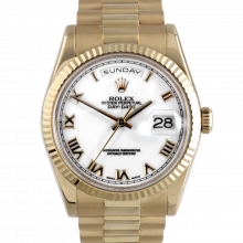 Rolex Day Date President 118238 White Roman Dial 18K Yellow Gold - Fluted Bezel On A New Style President Bracelet - Pre-Owned