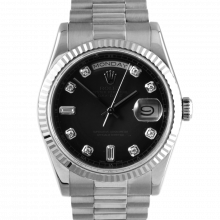 Pre-owned Rolex Mens New Style White Gold Day Date President Watch - Black Diamond Dial & Fluted Bezel Solid Gold Band 118239 Model