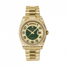 New Rolex Men's New Style Day-Date Watch - Yellow Gold President Pave Edge w/ Green Enamel Dial w/ Green Enamel Arabic  - Diamond Bezel -  Presidential Bracelet 36 MM 118348