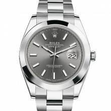 Rolex Datejust II 41 126300 Stainless Steel Dark Rhodium Index Dial & Smooth Bezel On Oyster Bracelet - Unused Men's Watch