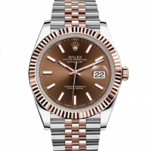 Rolex Datejust II 126331 18K Rose Gold & Stainless Steel - Chocolate Index Dial - Fluted Bezel - Jubilee Bracelet - New Style 41mm - UNUSED