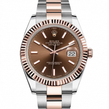 Rolex Datejust II 126300 18K Rose Gold & Stainless Steel - Chocolate Index Dial - Fluted Bezel - Oyster Bracelet - New Style 41mm - UNUSED
