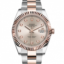 Rolex Datejust II 126331 18K Rose Gold & Stainless Steel - Sundust Diamond Dial - Fluted Bezel - Oyster Bracelet - New Style 41mm - UNUSED