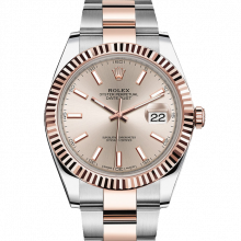 Rolex Datejust II 126331 18K Rose Gold & Stainless Steel - Sundust Index Dial - Fluted Bezel - Oyster Bracelet - New Style 41mm - UNUSED