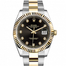 Rolex Datejust II 126333 18K Yellow Gold & Stainless Steel - Black Diamond Dial - Fluted Bezel - Oyster Bracelet - New Style 41mm - UNUSED
