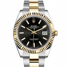 Rolex Datejust II 41 126333 18K Yellow Gold & Steel Black Index Dial & Fluted Bezel On Oyster Bracelet - Unused Men's Watch