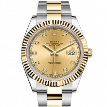 Rolex Datejust II 126333 18K Yellow Gold & Stainless Steel - Champagne Diamond Dial - Fluted Bezel - Oyster Bracelet - New Style 41mm - UNUSED