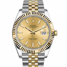 Rolex Datejust II 41 126333 18K Yellow Gold & Steel Champagne Index Dial & Fluted Bezel On Jubilee Bracelet - Unused Men's Watch