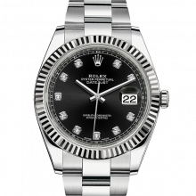 Rolex Datejust II 126334 Stainless Steel - Black Diamond Dial - Fluted Bezel - Oyster Bracelet - New Style 41mm - UNUSED