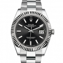 Rolex Datejust II 126334 Stainless Steel - Black Index Dial - Fluted Bezel - Oyster Bracelet - New Style 41mm - UNUSED