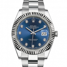 Rolex Datejust II 126334 Stainless Steel - Blue Diamond Dial - Fluted Bezel - Oyster Bracelet - New Style 41mm - UNUSED