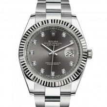 Rolex Datejust II 126334 Stainless Steel - Dark Rhodium Diamond Dial - Fluted Bezel - Oyster Bracelet - New Style 41mm - UNUSED