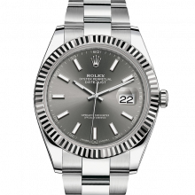 Rolex Datejust II 126334 Stainless Steel - Dark Rhodium Index Dial - Fluted Bezel - Oyster Bracelet - New Style 41mm - UNUSED