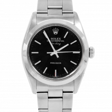 Rolex Airking - Black Stick Dial - Stainless Steel - Smooth Bezel On A Oyster Bracelet - Pre-Owned