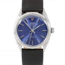 Rolex Airking - Blue Stick Dial - Stainless Steel - Smooth Bezel On A Black Leather Strap - Pre-Owned