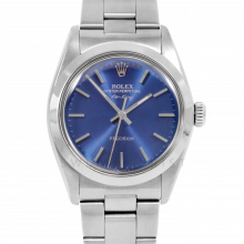 Rolex Airking - Blue Stick Dial - Stainless Steel - Smooth Bezel On A Oyster Bracelet - Pre-Owned