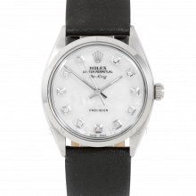 Rolex Airking - Mother Of Pearl Diamond Dial - Stainless Steel - Smooth Bezel On A Black Leather Strap - Pre-Owned