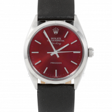 Rolex Airking - Red Stick Dial - Stainless Steel - Smooth Bezel On A Black Leather Strap - Pre-Owned