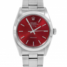 Rolex Airking - Red Stick Dial - Stainless Steel - Smooth Bezel On A Oyster Bracelet - Pre-Owned