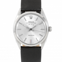 Rolex Airking - Silver Stick Dial - Stainless Steel - Smooth Bezel On A Black Leather Strap - Pre-Owned