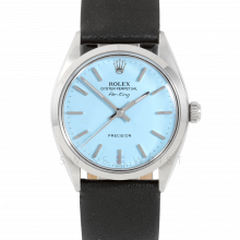 Rolex Airking - Turquoise Stick Dial - Stainless Steel - Smooth Bezel On A Black Leather Strap - Pre-Owned