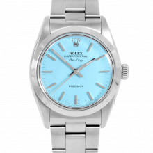 Rolex Airking - Turquoise Stick Dial - Stainless Steel - Smooth Bezel On A Oyster Bracelet - Pre-Owned