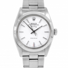 Rolex Airking - White Stick Dial - Stainless Steel - Smooth Bezel On A Oyster Bracelet - Pre-Owned