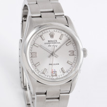 Rolex Airking 34mm 14000 Stainless Steel, Silver Arabic Dial, Smooth Bezel & an Oyster Bracelet - Men's Pre-Owned
