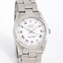 Rolex Airking 34mm 14000 Stainless Steel w/ White Roman Dial & Smooth Bezel with Oyster Bracelet - Men's Pre-Owned Watch