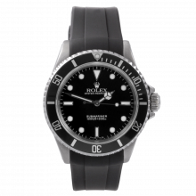 Rolex Mens No-Date Submariner 14060  - Stainless Steel Black Dial & Bezel on Swiss Made Rubber Sport Strap - Pre-Owned