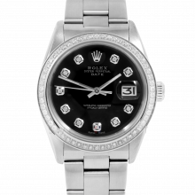 Pre-owned Rolex Mens Stainless Steel Date Watch - 1500 Model with Black Diamond Dial - Diamond Bezel - Oyster Band