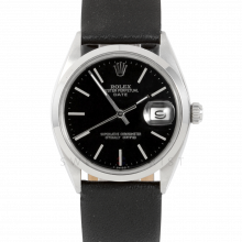 Rolex 34mm Date Model - Black Stick Dial - Stainless Steel - Smooth Bezel On A Black Leather Strap - Pre-Owned
