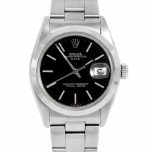 Rolex Date Model 1500 - Black Stick Dial - Stainless Steel - Smooth Bezel On A Oyster Bracelet - Pre-Owned