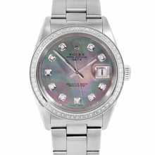 Pre-owned Rolex Mens Stainless Steel Date Watch, 1500 Model with Black MOP Diamond Dial - Diamond Bezel - Oyster Band