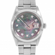 Rolex Date Model 1500 - Black Mother Of Pearl Diamond Dial - Stainless Steel - Smooth Bezel On A Oyster Bracelet - Pre-Owned