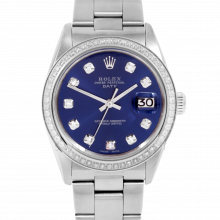 Pre-owned Rolex Mens Stainless Steel Date Watch, 1500 Model with Blue Diamond Dial - Diamond Bezel - Oyster Band